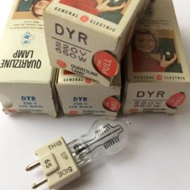 Nr. R158  General Electric Quartzline DYR 220volt 650w. halogeen projectie lamp