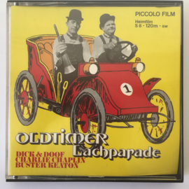Nr.6952 --Super 8 silent ,,Oldtimer lachparade Chaplin,Laurel&Hardy, Buster Keaton zwartwit 120 meter in orginele doos