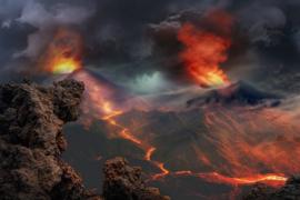 Nr.16503 -16mm- Lava vulcanische uitbarstingen, goed van kleur, speelduur 14 min. Engels gesproken , begin/end titels op spoel en in doos