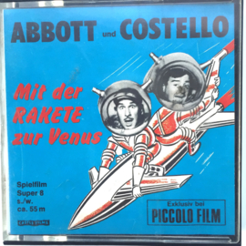 Nr.7160 --super 8 silent-- Abboth & Costello met de raket naar Venus zwartwit ongeveer 60 meter in orginele doos en op spoel