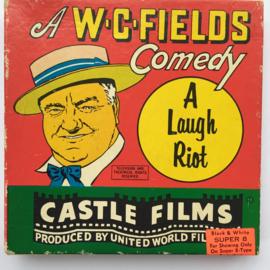 Nr.7218 --Super 8 silent W.C. Field A Laugh Riot, ongeveer 60 meter zwartwit silent op spoel en in orginele doos