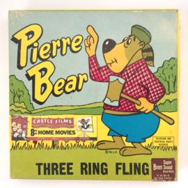 Nr.7018 --Super 8 sound- Castle film Pierre Bear Three Ring Fling  goed kwaliteit zwartwit met Engels geluid ca 60 meter  in orginele doos