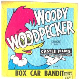 Nr.7157 --super 8 silent--Woody Wood Pecker Box Car Bandit, zwartwit ongeveer 60 meter in orginele doos en op spoel