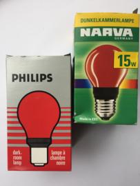 Nr. R211 PHILIPS Darkroom/Dokalamp 220 v. rood E27-  type PF712E