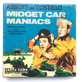 Nr.7233 --Super 8 Midget Car Maniacs Abbott and Costello, ongeveer 60 meter zwartwit silent op spoel en in orginele doos