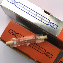 Nr. R233 -- Osram halogeenlamp nr.64550  115-120 volt 650watt 063627 korte buis lengte 8 cm.