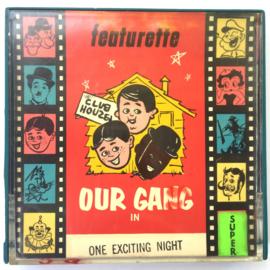 Nr.7060 --Super 8 Silent - Castle film Our Gang One Exciting Night, goede kwaliteit zwartwit Silent ca 60 meter  in orginele doos