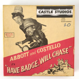 Nr.7027 --Super 8 Silent - Abboth and Costello, Have Badge, Will Chase, goede kwaliteit zwartwit Silent ca 60 meter  in orginele doos