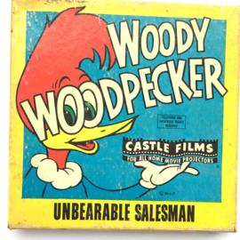 Nr.7215 --Super 8 Woody Wood Pecker Unbearable salesman, ongeveer 60 meter zwartwit silent  op spoel en in orginele doos