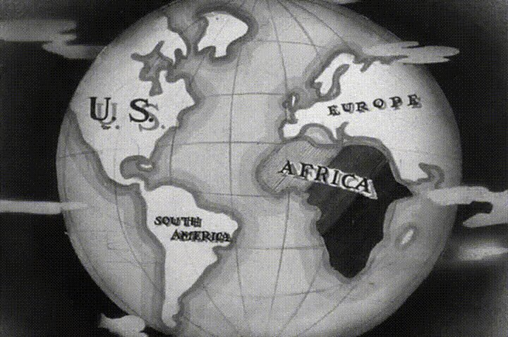 Nr.16439 --16mm-- The Darkest Africa, leuke oude cartoon zwartwit, engels geluid speelduur 7 minuten, compleet met begin/end titels, op spoel en in doos