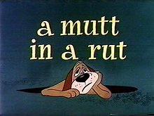 Nr.16452 --16mm-- Warner Bros, A Mutt in a Rut met Elmer Fudd, leuke cartoon goed van kleur Engels gesproken, speelduur 7 minuten compleet op spoel en in doos