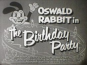 Nr.16435 --16mm-- The Birthday Party, Oswald Rabbit Walter Lantz 1937 mooi zwartwit met Engels geluid compleet met begin/end titels op spoel en in doos