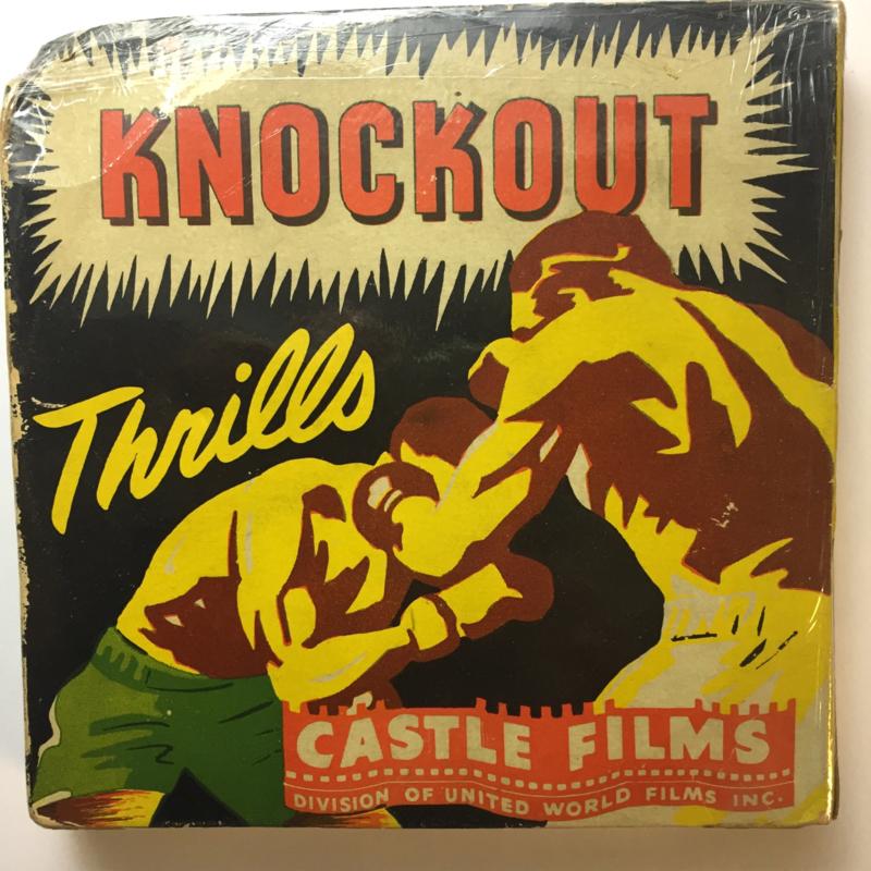 Nr.16323 -- 16 mm -- Castle film, Knockout Thrills nr.341 complete edition, prachtige zwartwit film lengte ongeveer 120 meter orginele Castle film, zwartwit silent, compleet met begin/end titels in orginele doos
