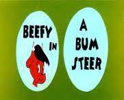 Nr.16493 --16mm--Beefy in A Bum Steer, Terrytoons tekenfilm, compleet met begin/end titels mooi van kleur en Engels gesproken, speelduur 10 min. op spoel en in doos