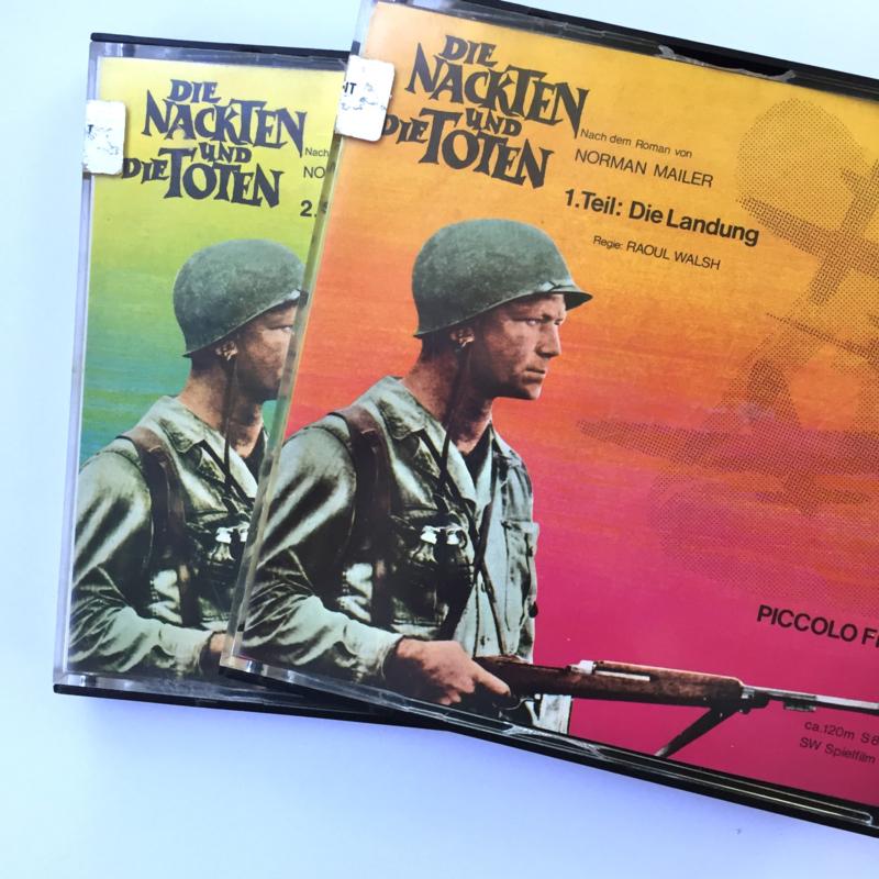 Nr.7006 --Super 8 sound -- Die Nackten und die Toten bestaat uit 2 delen van ca 120 meter zwartwit met orgineel Duits geluid, goede copy in orginele dozen