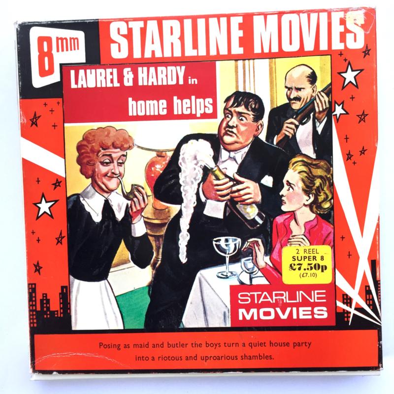 Nr.7258 --Super 8 --Laurel en Hardy Home Helps, ca 120 meter zwartwit silent, goede  copy in orginele doos