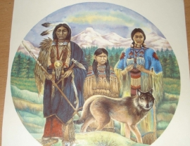 Transfer: Indiaan familie met wolf