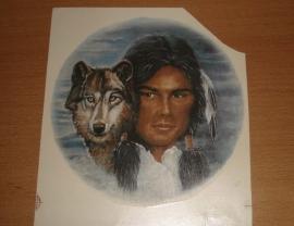Transfer: Indiaan hoofd met wolfskop