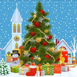 kerstboom bij kerk