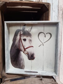 dienblad grijs paard