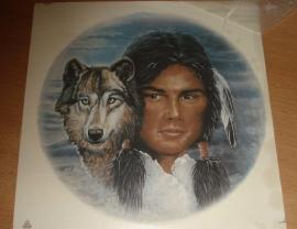Transfer: Indiaan hoofd met wolfskop GR