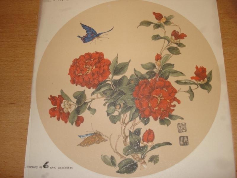 Transfer: Ronde rode bloem met vlinder