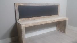 bouwpakket speeltafel met krijtbord 170x110 gebruikt steigerhout ZONDER KRUKJES