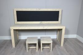 bouwpakket speeltafel met krijtbord 150x110 ZONDER krukjes in de beits