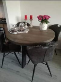 Tafel rond taupe tafelblad  zwarte houten poten