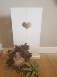decoratie luik 70x38 met hart wit