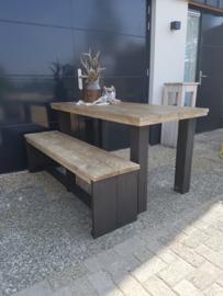 tafel loogbeits met zwart 150x80x78 met 1 bankje 250euro