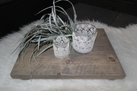 Steigerhouten dienblad taupe 30x40