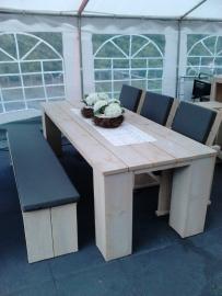 Tuinset tafel met 3 stoelen en 1 bankje