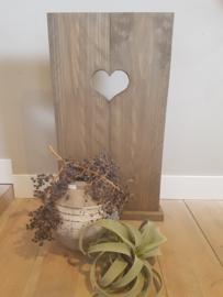 decoratie luik met hart taupe 70x38