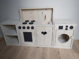 Kinder keukentje met kastje en wasmachine grijslook beits