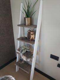 Decoratie ladder 170x50x19 wit/vintage wash