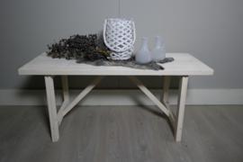 Bijzettafel/salontafel 100x40x45 white wash
