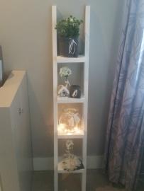 Decoratie ladder smal 150x30 wit