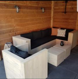 Hoekbank met Loungestoel en 2x hocker