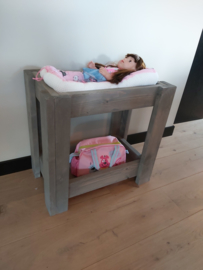Poppenbedje stapelbed taupe