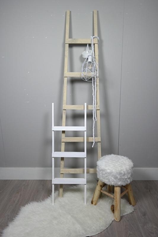 Fruit ladder 170x40 grijslook en trapje 90x30 wit