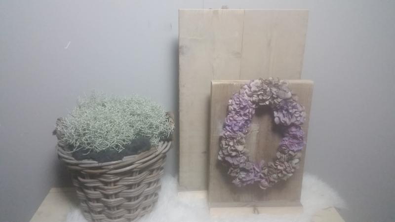decoratie bord combinatie 40x30 en 60x30 gebruikt steigerhout