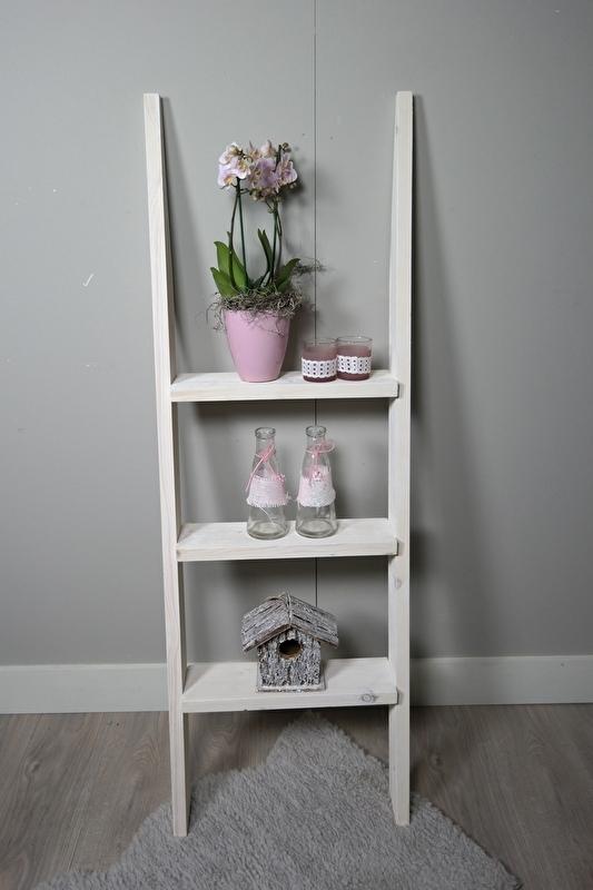Steigerhouten decoratie ladder 150 x50  white wash beits