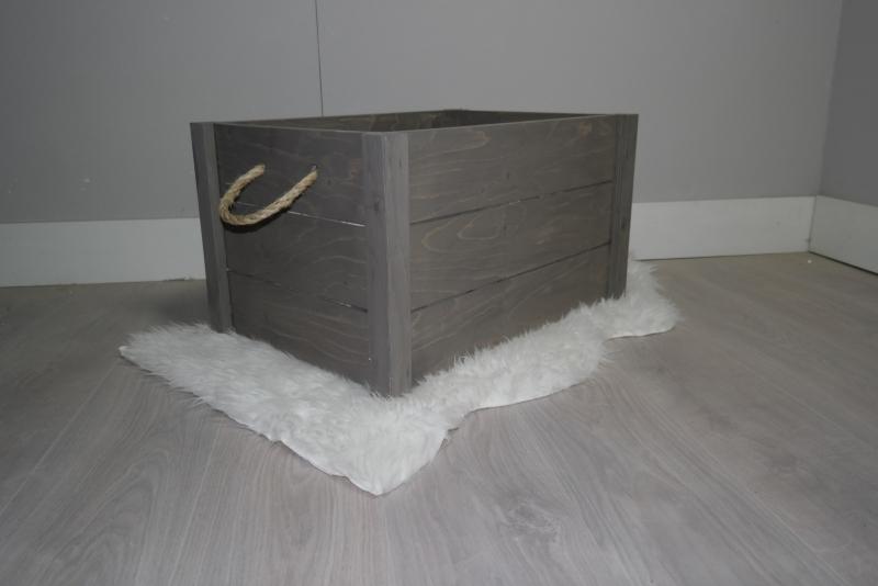 houten kist 60x40x35 taupe