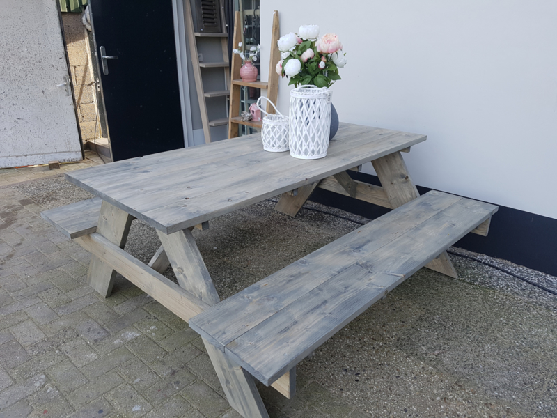 picknick bank 180cm lang antraciet beits