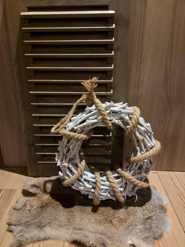 Krans wit met touw