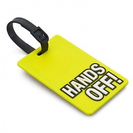 Luggage tag HANDS OFF! in yellow European Shipment included!