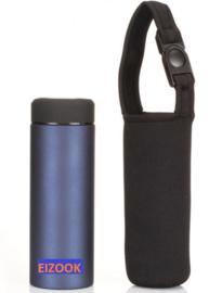 Bottle cooler holder with strap.
