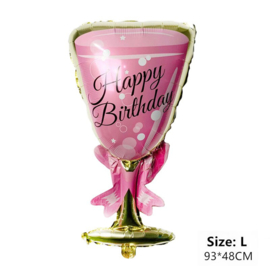 Party Balloon set Champagne bottle + Glass of pink or gold