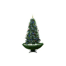 Sneeuwende kerstboom vanaf slechts: